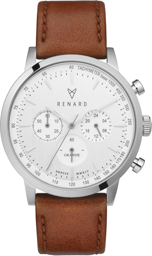 Renard Grande Chrono White/Silver Silver Veau Tan