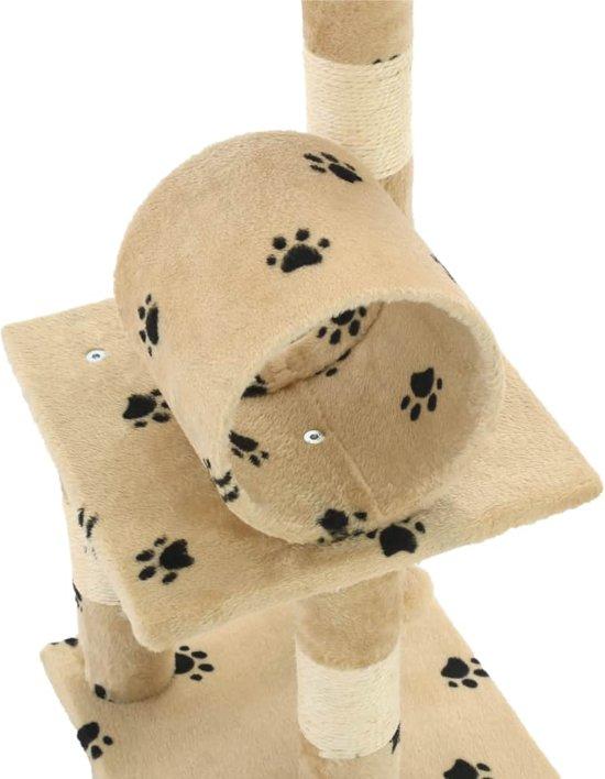 vidaXL Kattenkrabpaal met sisal krabpalen 65 cm pootafdrukken beige