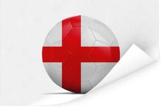 De vlag van Engeland op een voetbal Poster 120x80 cm - Foto print op Poster (wanddecoratie woonkamer / slaapkamer)