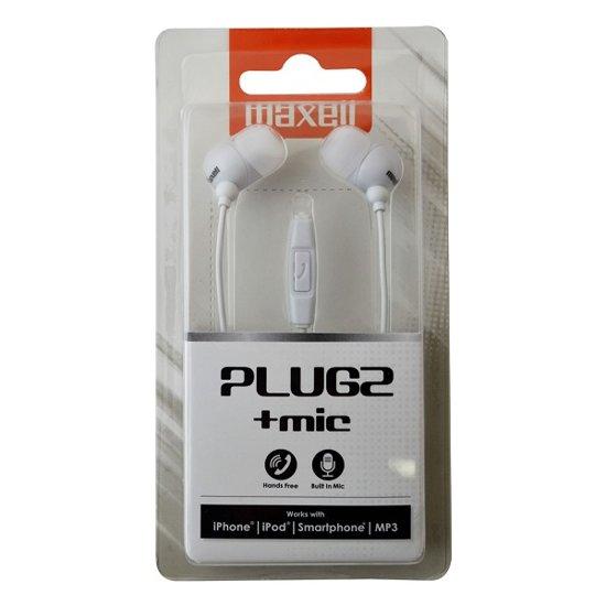 Maxell PlugZ In-ear   Wit mobiele hoofdtelefoon met microfoon