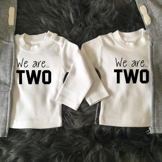 Verjaardag Tweeling Volwassen.Shirtjes Tweeling We Are Two