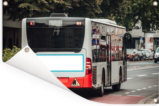 Een achteraanzicht moderne stadsbus Tuinposter 90x60 cm - Tuindoek / Buitencanvas / Schilderijen voor buiten (tuin decoratie)