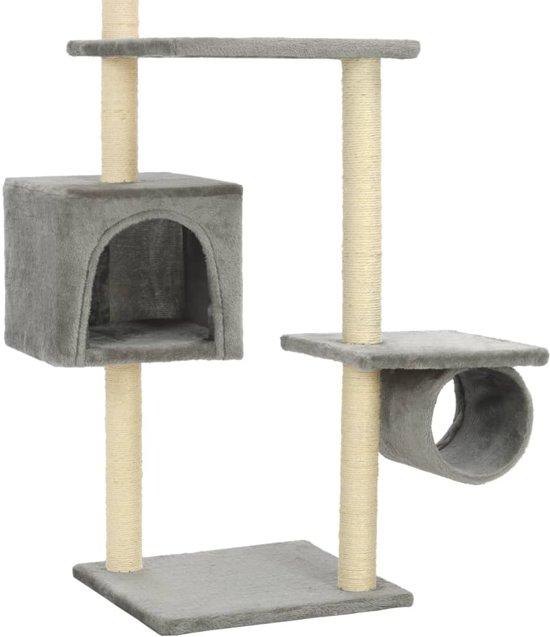 Kattenkrabpaal met sisal krabpalen 260 cm grijs