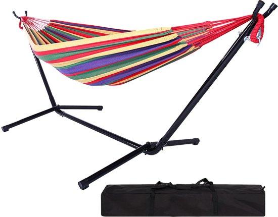 2 Persoons Hangmat Met Standaard.Luxe Hangmat Met Frame Standaard Dubbele Tweepersoons Hammock Met Hangmatstandaard Bevestigingsset 2 Persoons Rood