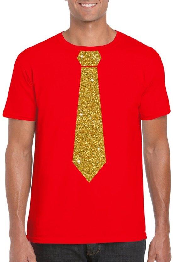 Rood fun t-shirt met stropdas in glitter goud heren S