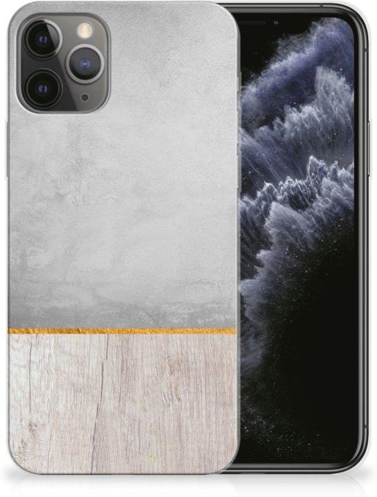 iPhone 11 Pro Bumper Hoesje Wood Concrete