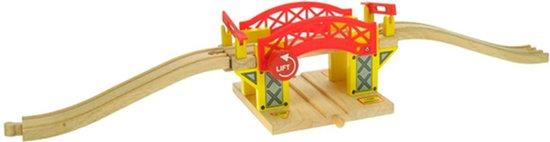 BIGJIGS Treinset Treinbaan Hefbrug met rails - Hout