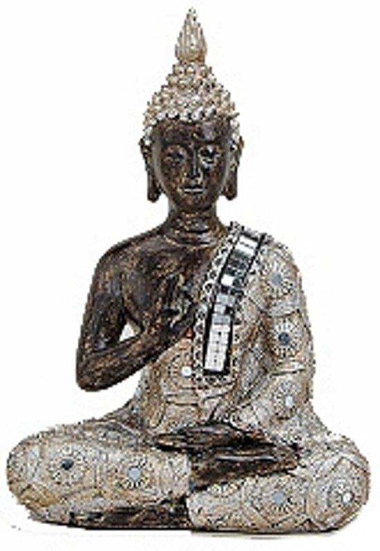 Boeddha beeldje zilver/bruin 21 cm