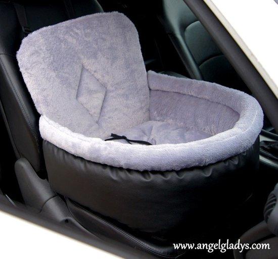 Autostoel voor honden Cosy car comfort Angel & Gladys grijs 45x35x20/45cm