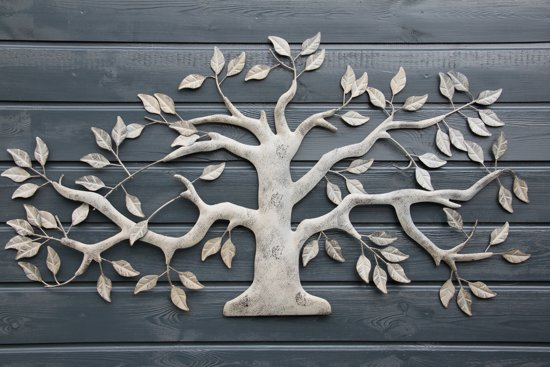 Wanddecoratie metalen boom for Muurdecoratie hout