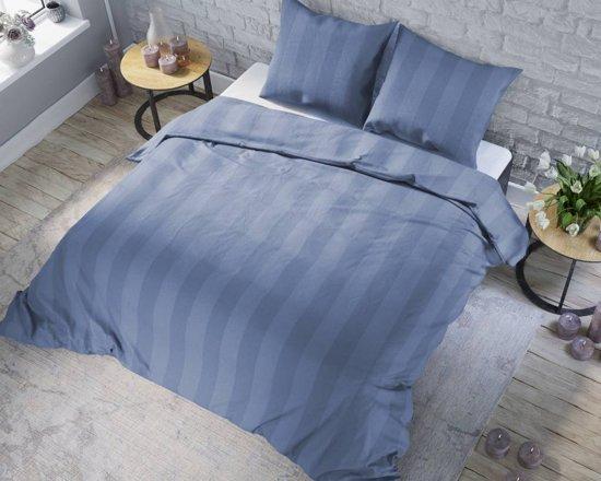 Bol.com dekbedovertrek satijn streep blauw maat: 240x200 220cm