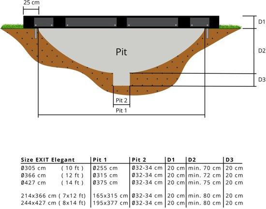 """""""EXIT Elegant Inground Trampoline 214 x 366 cm met Veiligheidsnet """""""