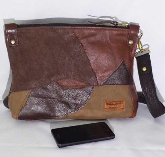 bde1619ed8d Toetie & Zo Tas Leer Patchwork Bruin, handgemaakt, schoudertas, crossover  tas, heuptas