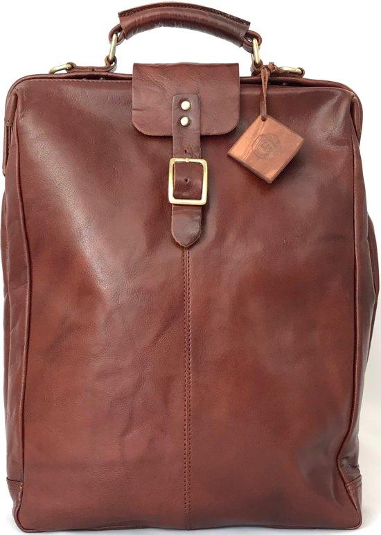 6f2e54306e4 Leather Design - Leren rugtas met 15 inch laptopvak - hoge kwaliteit leer -  Bruin