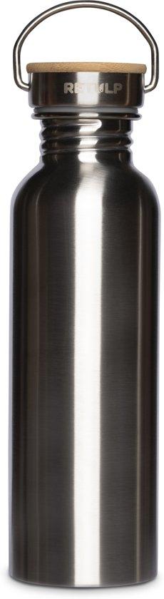 Retulp | Urban | Zilver | 750ML | Waterfles | Drinkfles | Enkelwandig | RVS | Bamboe | 0,75L | BPA-vrij | Staal