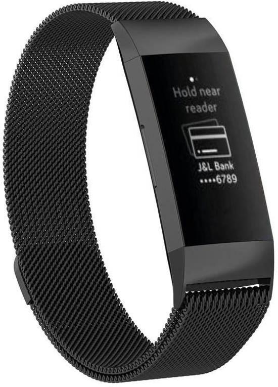 REBL Milanees bandje - Fitbit Charge 3 - Zwart
