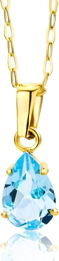 Majestine Ketting 9 Karaat Geelgoudkleurig (375) en Hanger met Blue Topaz