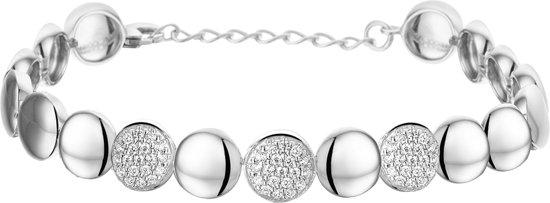 The Jewelry Collection Armband Zirkonia 8,4 mm 17,5 + 3 cm - Zilver Gerhodineerd