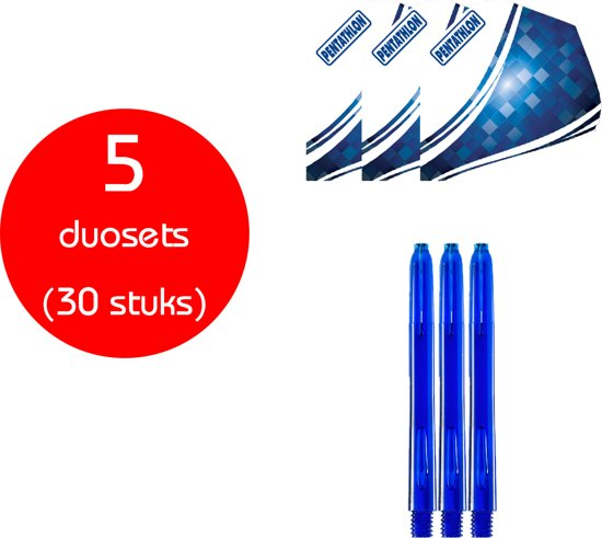 Dragon Darts - 5 sets (30 stuks) - Duo-combi Pentawave - darts shafts - inclusief - darts flights - blauw