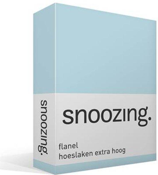 Snoozing - Flanel - Hoeslaken - Extra Hoog - Eenpersoons - 80/90x200 cm - Hemel