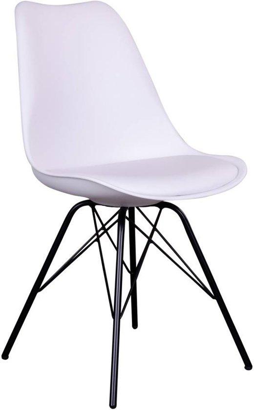 Oslo kuipstoel wit met zwart onderstel set van for Merk stoelen