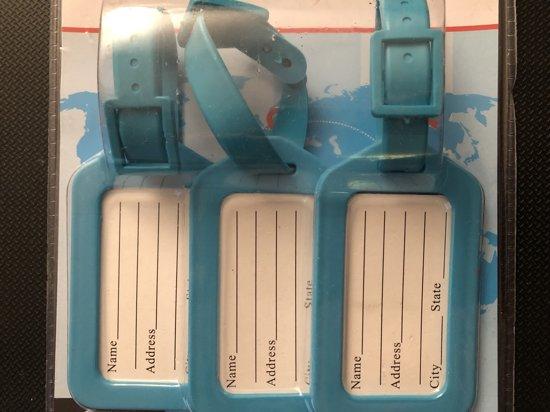 Bagagelabel 3 stuks Kunststof licht blauw