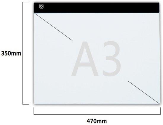 A3  Lightpad / LED licht Lichtbak / Tekentafel / Lichttafel / Lichtbox / Lightbox met 3 DIMBARE lichtstanden, o.a. voor Diamond Painting, fotografie, tekenen etc, 47 x 35cm