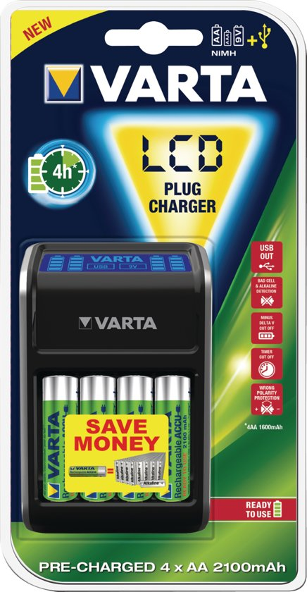 Varta batterij oplader met LCD scherm incl.4 X AA batterijen