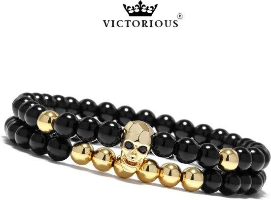 Victorious - Set Armbanden Zwarte en Goudkleurige Natuurstenen  - Zwarte Schedel - Vanaf 16cm