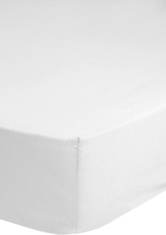 Hoeslaken katoen strijkvrij wit 160x200