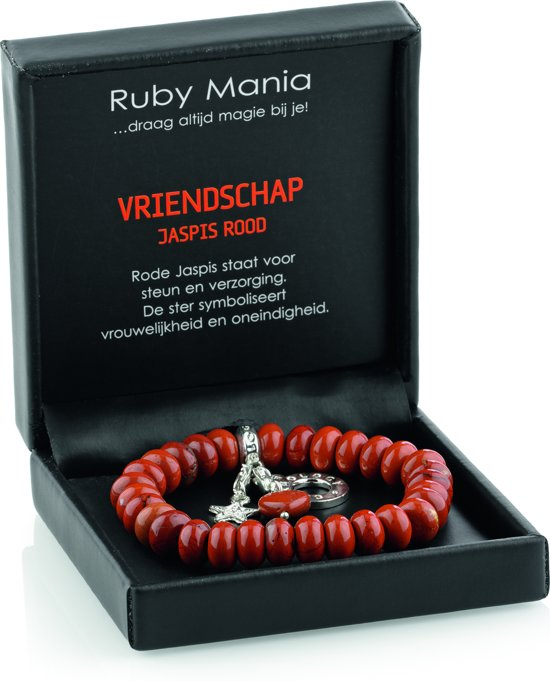 Jaspis rood armband 'Ruby Mania' - ronde edelsteen kralen