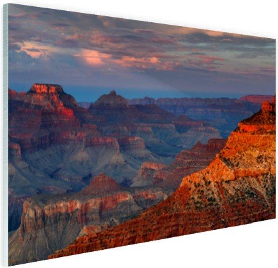 Mather Point zonsondergang Grand Canyon Glas 30x20 cm - Foto print op Glas (Plexiglas wanddecoratie)