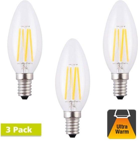 3 Pack - E14 4w Filament Peerlamp - 2200K Flame - Dimbaar
