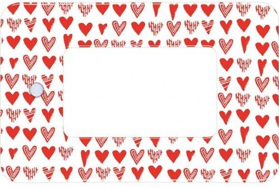 loep hartjes 8,5 x 5,5 cm wit/rood