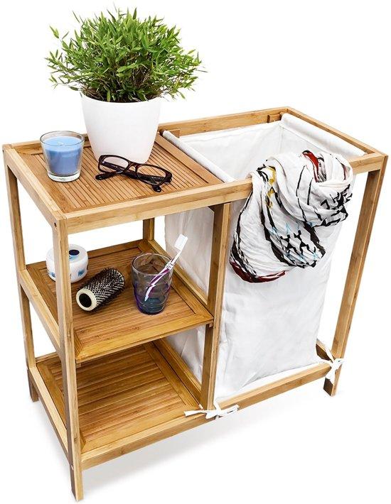 bol.com | relaxdays Wasmand met 3 planken, bamboe hout ...