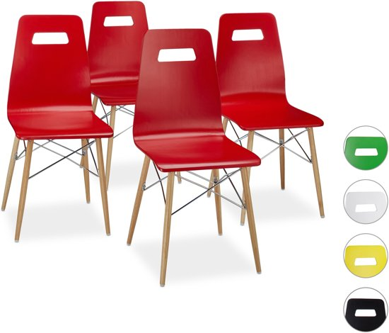 bol.com | relaxdays - design stoel 4 stuks - eetkamerstoel - moderne ...
