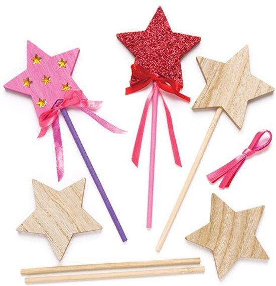 Houten toverstokjes met ster voor kinderen om naar eigen smaak te versieren (6 stuks per verpakking)