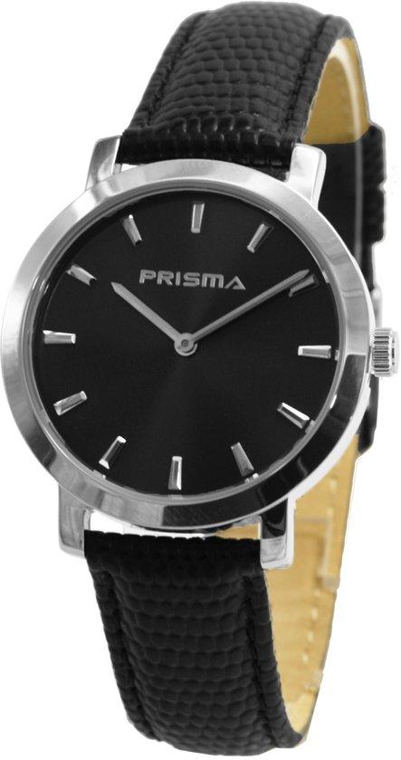Prisma Herenhorloge P.2186 Lederen band Edelstaal