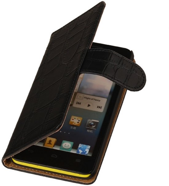Croco Zwart Huawei Honor Glory 6 Bookcase Flip Cover Wallet Hoesje in Ledeacker