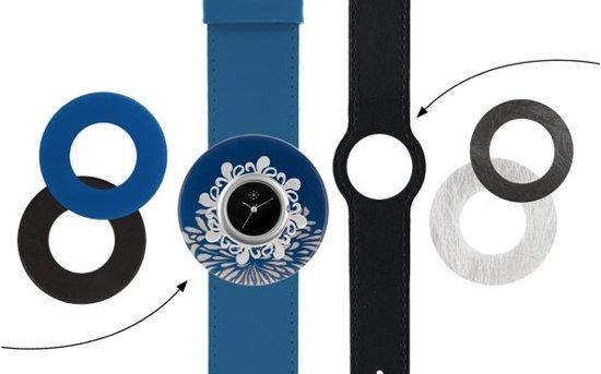 Deja Vu Premium horlogeset blauw/zwart met zilverkleurig uurwerk