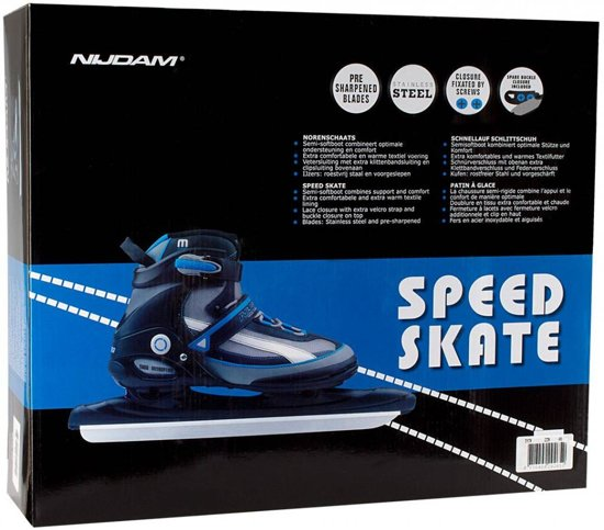 Nijdam Pro-line Norenschaats - Semi-Softboot - Zwart/Zilvergrijs/Blauw - 45
