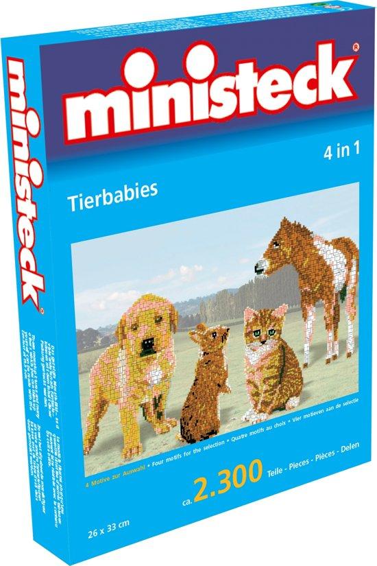 Ministeck Jonge dieren 4 in 1, ca. 2.300-delig, 26x33cm incl. plaat