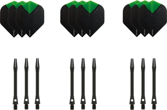 Dragon darts - 3 sets - XS100 Skylight - Groen - Darts flights - plus 3 sets - aluminium - darts shafts - zwart - medium