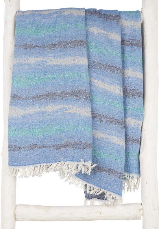 ae58181992f ZusenZomer lange hamamdoek xxl ZANZI 100x200 strandlaken hamam handdoek  sauna - turquoise