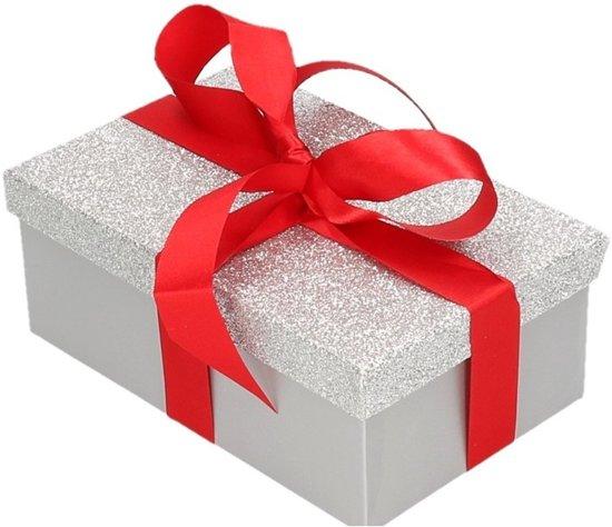 Cadeau gift box set - zilver glitter cadeaudoosje 7 x 8 cm en rood kadolint - kadodoosjes / cadeauverpakking
