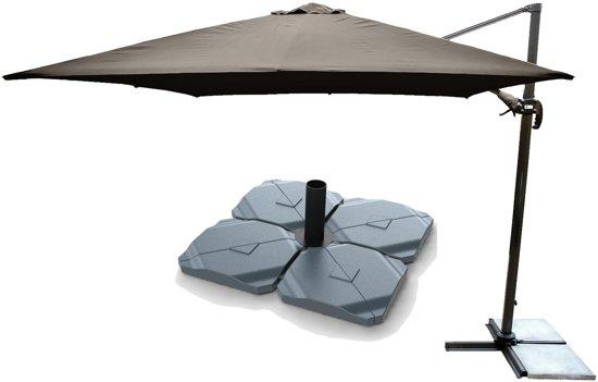 Parasolvoet Voor Zwevende Parasol.Kopu Zweefparasol Vigo Met Parasolvoet 250x250 Cm Vierkant Taupe