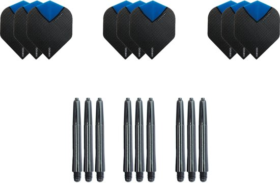 Dragon darts - Dartset - 3 sets dart flights en 3 sets nylon darts shafts - 18 pcs - Aqua - darts flights