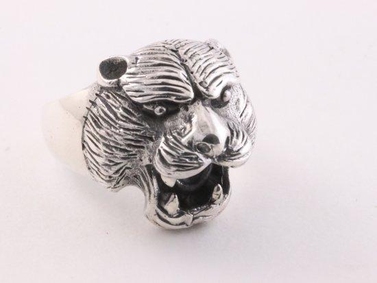 Zilveren ring met tijgerkop - maat 21