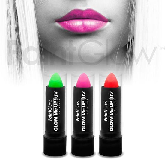 Neon / Blacklight Lippenstift PaintGlow - 3 stuks (Groen, roze, rood)
