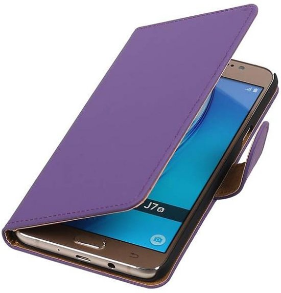Mobieletelefoonhoesje.nl - Samsung Galaxy J7 (2017) Hoesje Effen Bookstyle Paars in Eextahaven